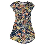 Lularoe Kids Mae Floral Blue Pink Yellow Pocket Dress Size 6 fits Kids 5-6