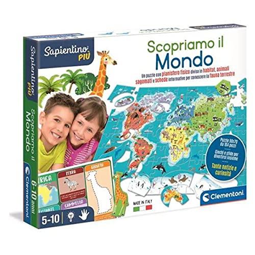 Clementoni- Sapientino più-Scopriamo educativo 5 Anni Geografia, Puzzle geografico del Mondo-Gioco Pianeta Terra-Made in Italy, Multicolore, 16339