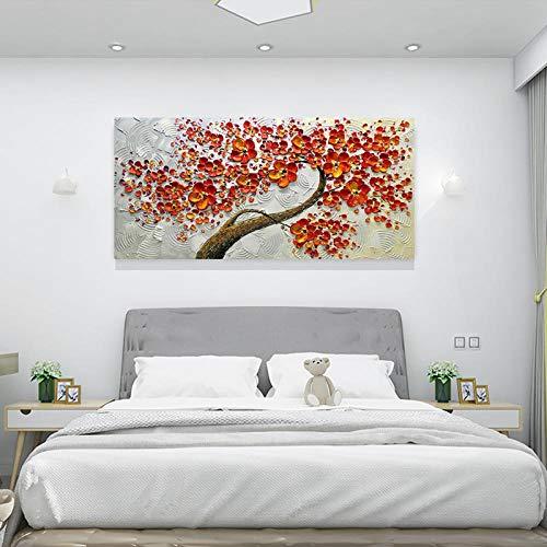 Handbeschilderde olieverfschilderij op canvas, abstracte plant, boom met mooie, dikke oranjebloesems in de stam, hedendaagse grote, handgeschilderde kunstwerken voor huis woonkamer D 130×260cm