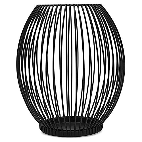 Luckxing Metal Wire Candle Holder, Oval Basket Holder, Candle Holder, Metal Decorative Candlestick, Creative Vintage Candle Stand for Christmas, Wedding, Food, Black
