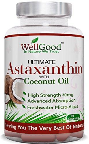 Astaxantina natural 30mg con aceite de coco - vegano 90 cápsulas - fuerza mayor - las...
