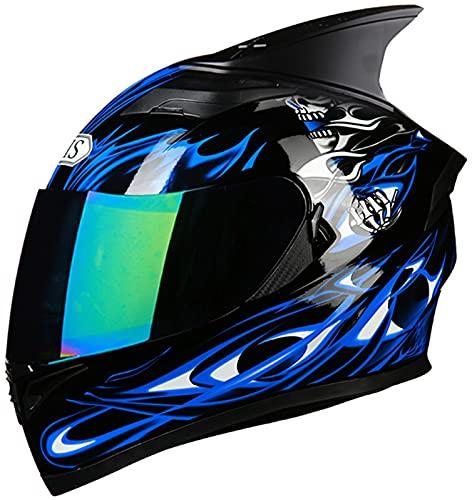 Casco De Motocicleta Integrado Viseras Dobles Personalización Horn ECE Aprobado Cascos Modulares Abatibles De Cara Completa Unisex-Adulto Ciclomotor Street Racing Casco R,XL=(60-61CM)