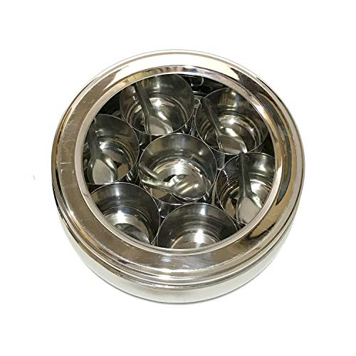 Transparent Stainless Steel Spice Box Indian Masala Dabba Spice Container Box 7 Compartments with 7 Spoons Masala Box Spice Storage Containers