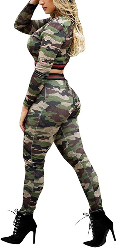 Women Two Piece Outfits Camouflage Long Sleeve Crop Top Blouse and High Waist Leggings Suits Clubwear Party Night