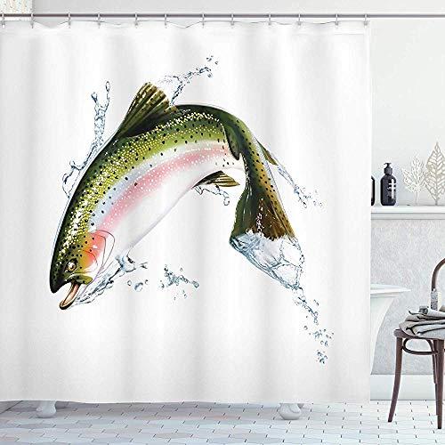 abby-shop Fisch-Duschvorhang, Lachs, der aus dem Wasser springt, das Spritz-Cartoon-Design fotorealistische Airbrush, Weiß-Grün Macht