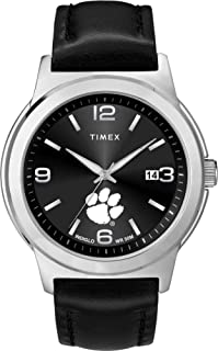 Timex Men's Clemson University Tigers Watch Black Leather Band Ace