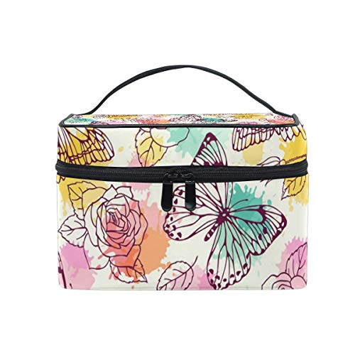 Vintage Retro Butterfly Rose Pattern Cosmetic Bag Toiletry Travel Makeup Case Poignée Pouch Multi-Function Organizer for Women