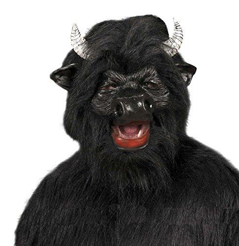 WIDMANN Máscara de toro de peluche, negro