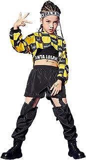 3 Piezas de Ropa de Hip Hop para niñas, Traje de Baile Callejero, Sudadera con Capucha Recortada, Camiseta sin Mangas, Pan...