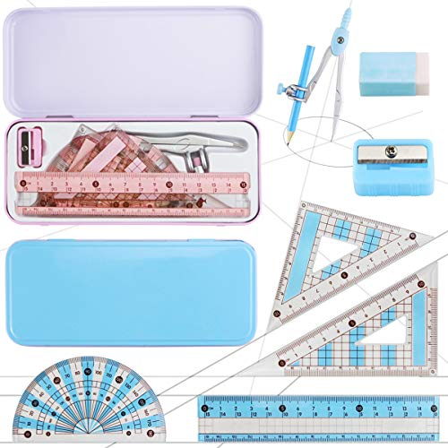 Nexxxi 2 Set Drawing Compass Math Geometry Tools with Shatterproof Storage Box Geometry Set for School, Blue and Pink Theme