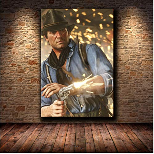 WDQFANGYI Classic The Game Red Dead HD Poster Canvas painting Wall Art Print Painting Decorative 50X70CM (FLL4890)