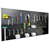 Wallmaster Pegboard Organizer Garage Storage - 48pcs Pegboard Hooks Set, Pegboard Tool Organizer with 48x24 Inch Steel Peg Board & 4 Storage Bins
