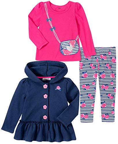 Kids Headquarters - Juego de 3 Pantalones de Chamarra para niña, Azul Marino/Rosa, 4 Años