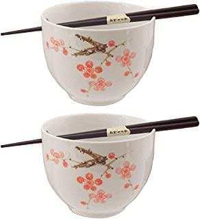 Happy Sales HSBS-CBWP2, Perfect 2 pc White and Pink Blossom Ramen Udon Noodle Soup Rice Cereal Bowls w/Chopsticks
