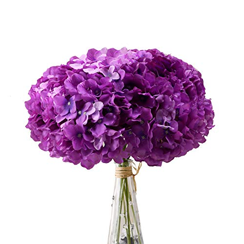 Aviviho Hydrangea Silk Flowers Purple Heads with Stems Pack of 10 Full Hydrangea Flowers Artificial for Wedding Home Party Shop Baby Shower Decoration