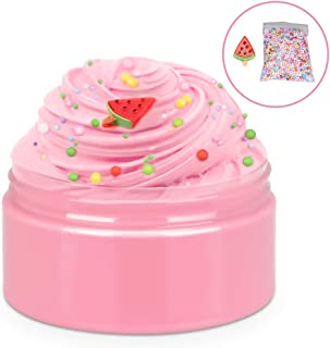 iHoryson Slime Cotton mud, Scented Fluffy Butter Slime, Soft and Non-Sticky Kids Slime for Girls Boys, Ideal Stress Relief Slime Toys, Include 1 Pack Colorful Foam Balls, Adorable Watermelon Charm