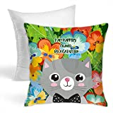 Freestyle28 I Am Happily Owned by A Cat Kitten Decorative Home Throw Pillow s Cushion for Couch/Bed Square 18x18 Inch/45cm (Include Insert)