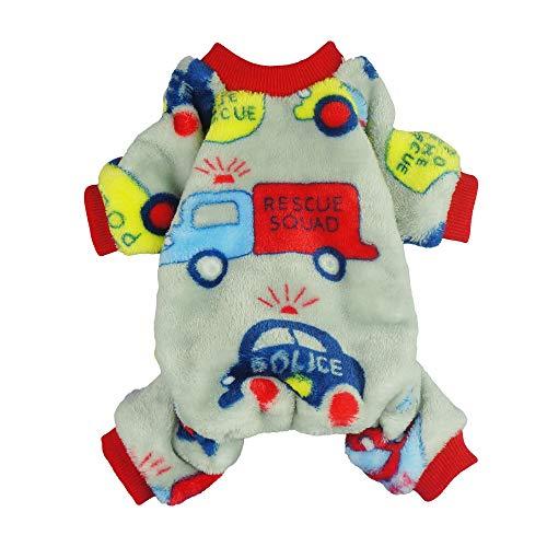 Fitwarm Cars Pet Clothes for Dog Pajamas Coat Cat PJS Jumpsuit Soft Velvet Large