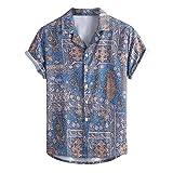 Xmiral Camicia Uomo Slim Fit Camicia Hawaiana Uomo Uomo Button Down Shortsleeve Uomo Camicie Uomo Maniche Corte Camicia Jeans Uomo (L,1Blu)