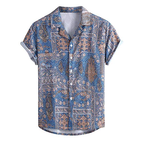 Yowablo Shirt Top Bluse Herren Standard-Fit Tropical Hawaiian Summer Fashion Lässige Revers Print Kurzarm (S,1Blau)