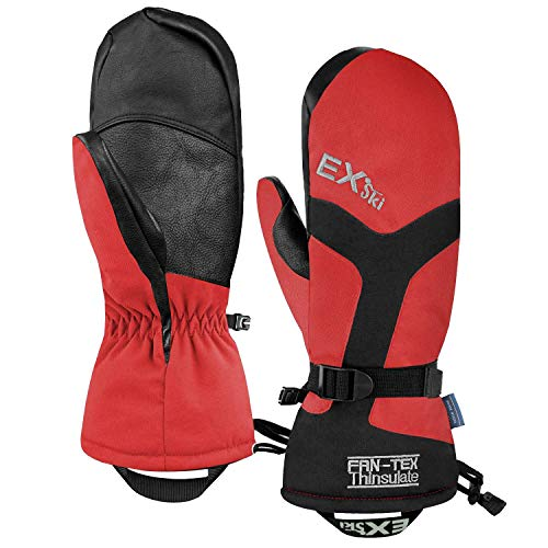EXski -22℉ (-30℃) Waterproof Winter Gloves Warm 3M Thinsulate Ski Mittens for Cold Weather Snowboard Snowmobile Rose Red Small