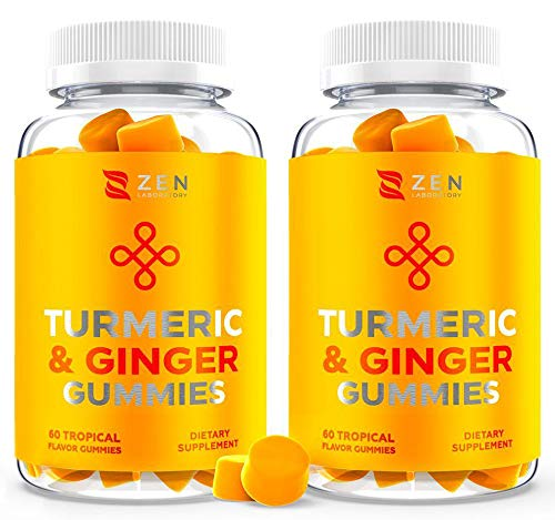(120 Gummies) Turmeric Curcumin Gummy Supplement w Ginger Chews for Joint Pain Relief, Immune Support Boost for Kids Adults - Gummy Vitamin Alternative to Tumeric Pills Capsules Extract (2 Pack)