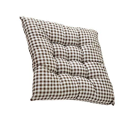 Monbedos 1 stuks vierkant kussen van katoen en linnen zitkussen voor binnen en bank zitkussen voor buiten gestoffeerd zitkussen (geruit patroon) 45 * 45CM