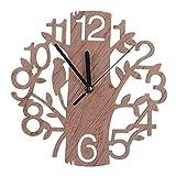 YunBest - Reloj de pared analógico de madera 3D con diseño de árbol y pájaro