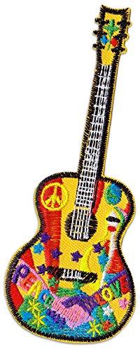 Hippie Guitar Aufnäher Aufbügler Patch Mädchen Sommer Gitarre Party Festival