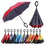[Amazonブランド] Eono(イオーノ) ダブル レイヤー 反転 傘 リバース 折り 傘 セルフ スタンディング 防風 UV 保護 トラベル 傘 車 雨 と アウトドア用 C シェイプ ハンドル ズ ブルー ドット