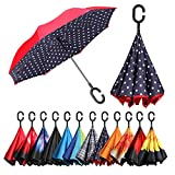 BAGAIL Double Layer Inverted Umbrellas Reverse Folding Umbrella Windproof UV Protection Big Straight Umbrella for Car Rain Outdoor with C-Shaped Handle(Blue Dot)