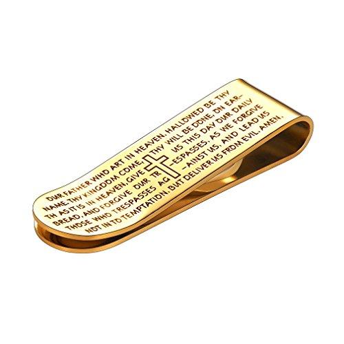 FaithHeart Scheinklammer Gelb Unisex Geldhalter-Geld-Clamp Gold mit Heiliges Kapitel und Kreuz Schmuck Zubehör