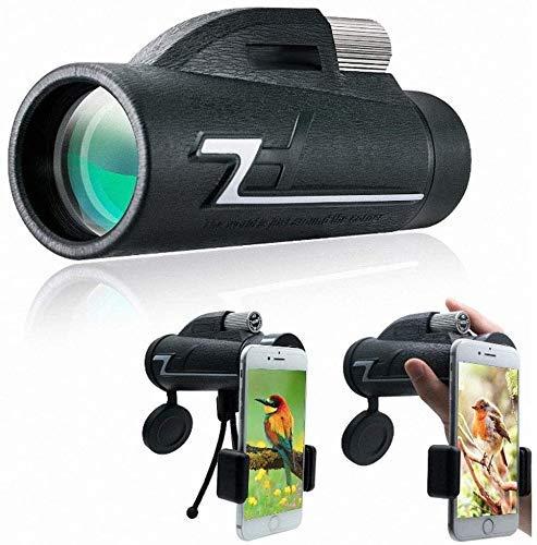 Claro Telescopio monocular, 10x50 de alta potencia HD monocular para observación de aves Adultos con titular de teléfono inteligente y trípode para la caza de vida silvestre Camping Viaje con vida sil