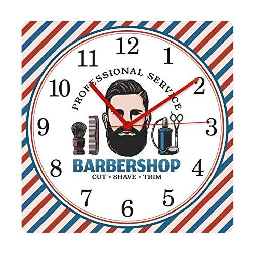 mazhant Barbershop Barber Pole Pattern Mute Square Reloj Colgante de Pared Cepillo de Pelo Sillón Cepillado Corte Tienda Relojes Decorativos Reloj-30X30cm