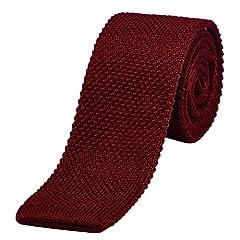 Idea Regalo - DonDon Cravatta Uomo fatta a maglia 5 cm rosso scuro