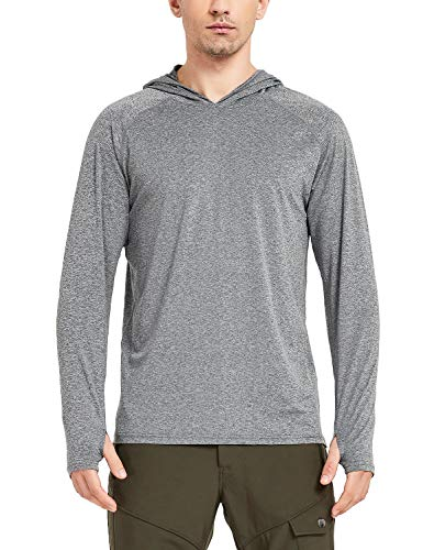 Safort Men's UPF 50+ Sun Protection Hoodie Long Sleeve T-Shirt for Running, Fishing, Hiking, Grey L