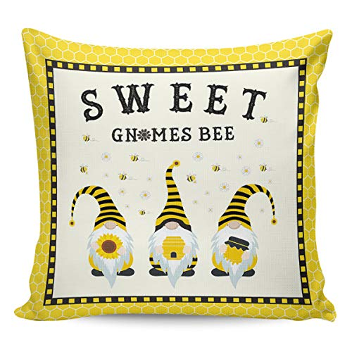Litter Star Pillowcase Throw Pillow Covers Sweet Gnomes Bee Decorative Square Cushion Cover Pillow Cases for Sofa Couch Bedroom Living Room Yellow Honeycomb 24x24in