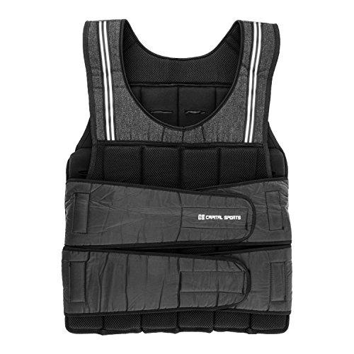 Capital Sports Vestpro 20 Gewichtsweste Fitness-Weste Weightvest (20 kg, 38 herausnehmbare Gewichte, Nylongurte mit Klettverschlüssen, individuelle Körperanpassung) schwarz