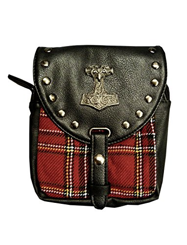 LUCYFIRE fashion Kilt Tasche Mit Thorshammer In Rot.