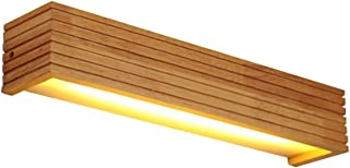 Modern Japanese Style Led Lamp Oak Wooden Wall Lamp Nordic Solid Wood Mirror Wall Lights Sconce For Bedroom Bathroom ( Size : S 350x80x80mm )