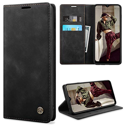 YIRSUR Kompatibel mit Samsung Galaxy A20s Hülle Premium Leder PU Flip Case Wallet Lederhülle Handyhülle Klapphülle Magnetisch Silikon Bumper Schutzhülle Kompatibel mit Samsung Galaxy A20s (Black)
