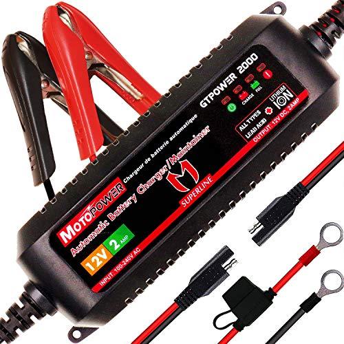 MOTOPOWER MP00207A 12V 2Amp Chargeur de Batterie Automatique Intelligent/Maintainer pour Les Deux Batteries au Plomb et Les Batteries au Lithium-ION