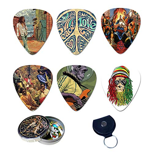BluesBay Premium Celluloid Guitar Picks-12 Pack Includes Thin, Medium & Heavy Gauges-Bundle W/Free Metal Box+Leather Key Chain Pick Holder (Retro)-Best Gift for Guitar Lovers