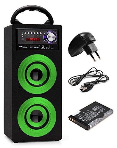 Beatfoxx Beachside BS-20BTG portabler Bluetooth-Lautsprecher tragbare Akku-Lautsprecherbox Set inkl. Ersatz(USB/SD-Anschlüsse, UKW-Radio, AUX, Tragegriff, Fernbedienung) grün