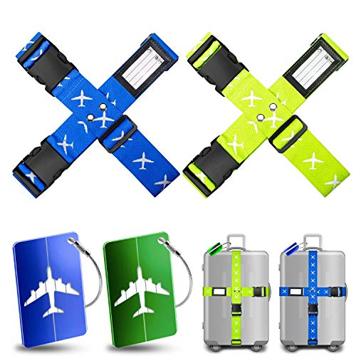 Yosemy 4pcs Luggage Straps for Suitcases +2pcs Luggage Tags, Security Straps, Luggage Belts, CrossTraval Belts, Adjustable Packing Belts with Buckle for Family Travel/Bussiness Trip Blue and Green