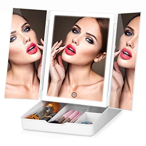 HAMSWAN Specchio Trucco Con 32 LEDs, Specchio Bianco cosmetico, Specchio di Vanity Trifold, Specchio per Il con Touchscreen per Il Trucco Con Scatola, Specchio Bagno con Luci