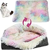 PINVNBY Self-Warming Cat Bed Pad Indoor Fluffy Cushion Dog Calming Thermal Blanket Anti-Slip Machine Washable Plush Mat Cave Soft Sofa 2-in-1 Beds for Puppy and Kitties Improved Sleep