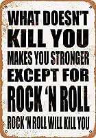 2個 8 x 12CMメタルサイン-あなたを殺さないものはあなたを強くします。ロック 'Nロールを除いて。ロック「N ROLLはあなたを殺します。 メタルプレート レトロ アメリカン ブリキ 看板