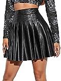 Falda de mujer de piel sintética de cintura alta con cremallera lateral, elegante línea A, plisada, Negro , XXXXL