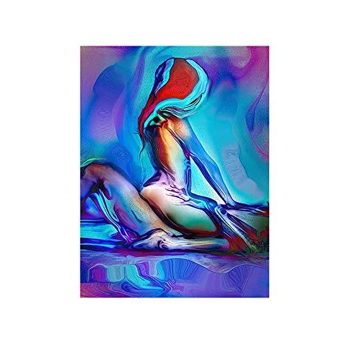 NIEMENGZHEN Impression sur Toile Sexy Hommes et Femmes Chambre tête de lit décoration Toile Peinture Abstraite coloré Femme Wall Art 11,8\